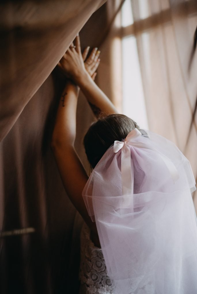 pink wedding veils