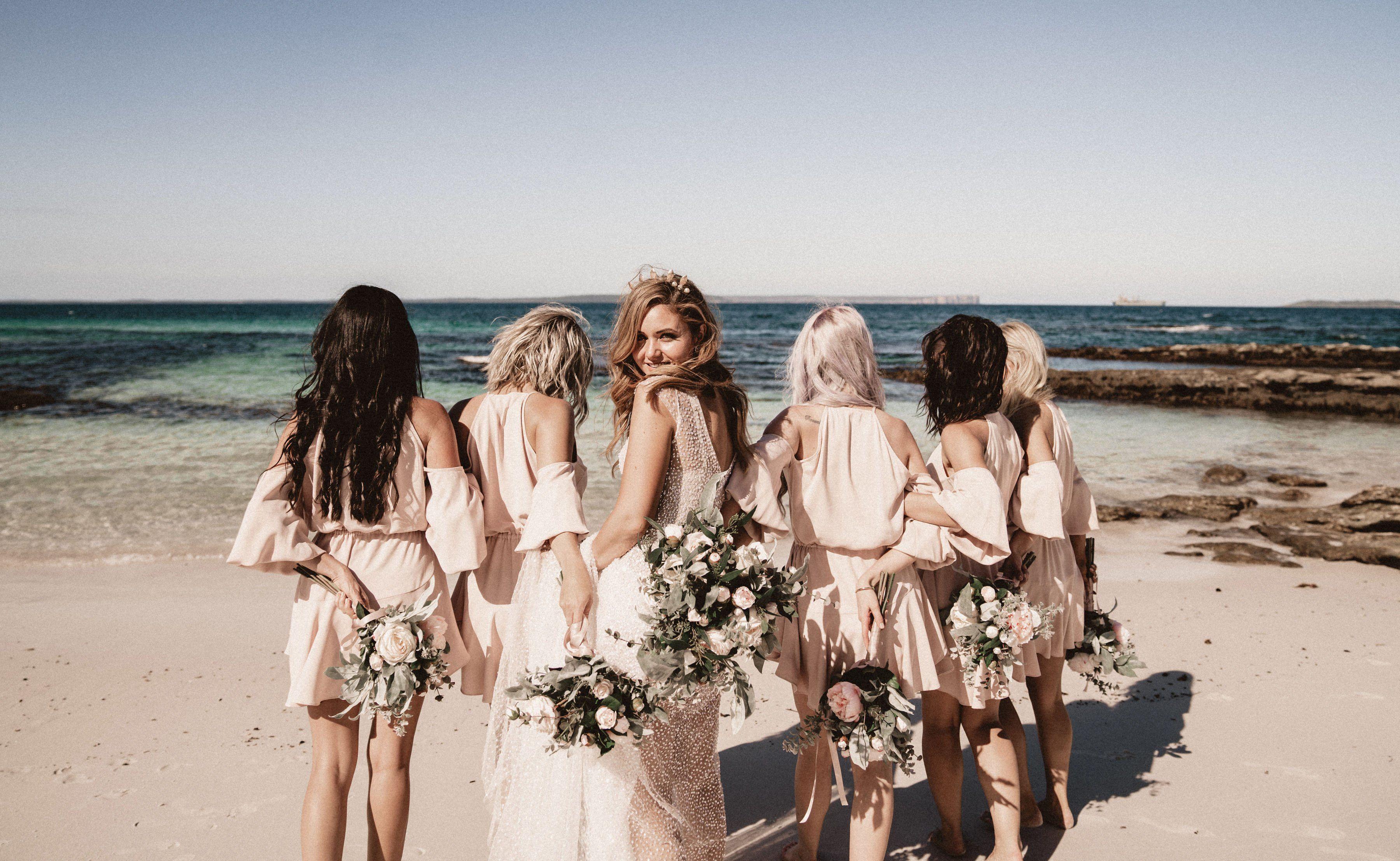 pastel pink wedding dresses