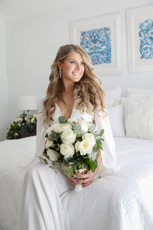 modern white rose wedding bouquet